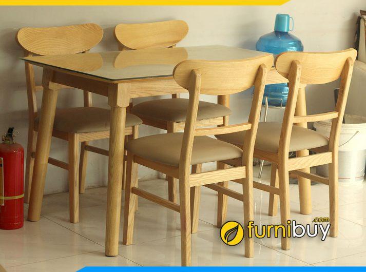 Bộ bàn ăn mango 4 ghế chung cư hiện đại BA023