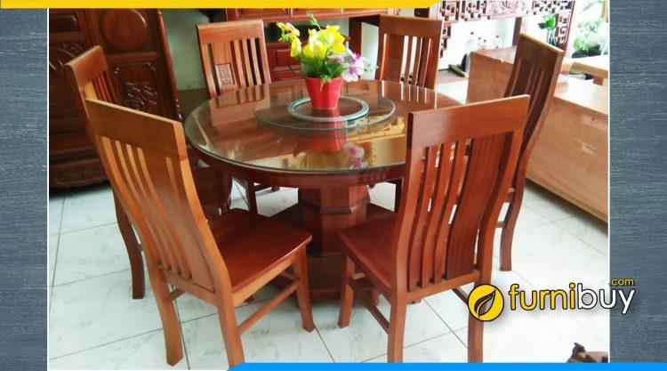 Hình ảnh bộ bàn ghế ăn 6 chỗ gỗ xoan đào tròn xoay