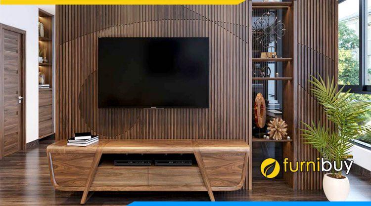 Mẫu kệ tivi gỗ sồi Nga phòng khách chung cư nhỏ đẹp
