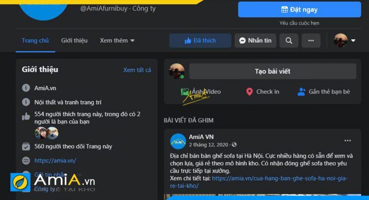 Thực tế trang mạng xã hội face book của chi nhánh của AmiA