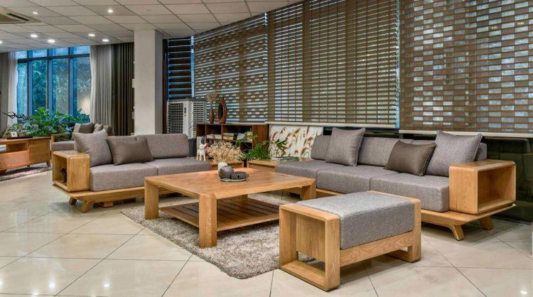 Bàn ghế sofa gỗ tự nhiên cho phòng khách rộng