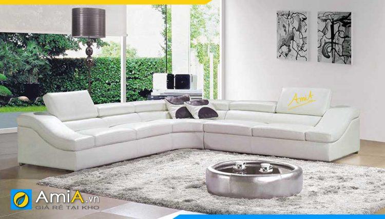 Bộ bàn ghế sopha chữ V màu trắng trẻ trung phù hợp với tông màu chung của căn phòng