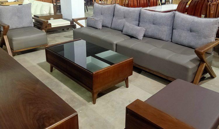 Bàn ghế sofa gỗ văng kết hợp 2 đôn lớn