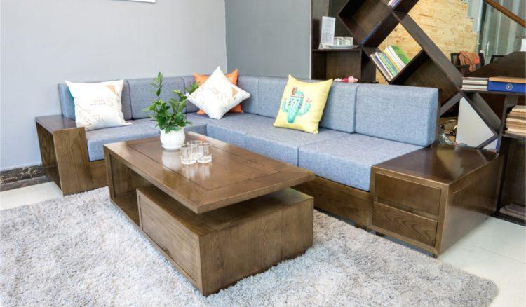 sofa gỗ góc hiện đại cho nhà phố