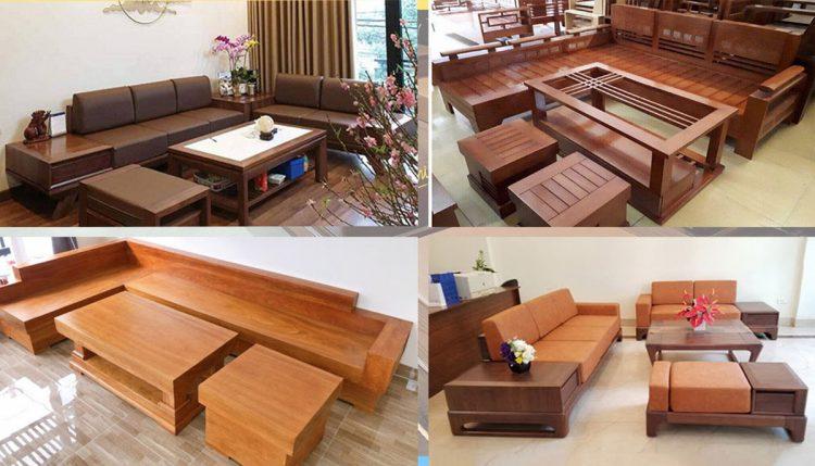 Hình ảnh các mẫu sofa gỗ kê tại các không gian khác nhau