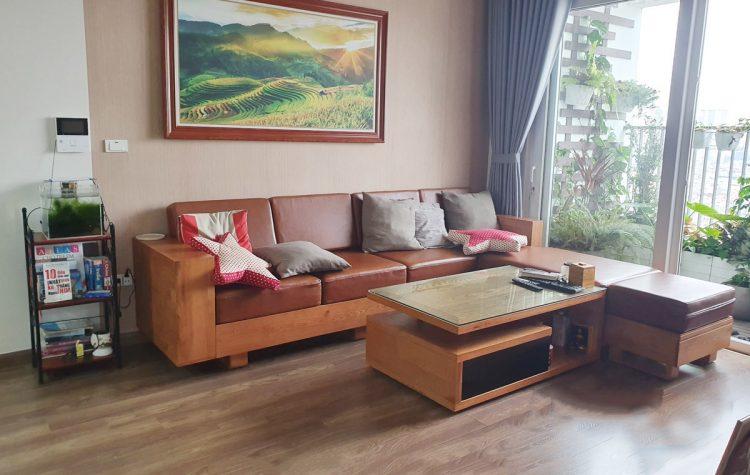 Mẫu ghế sofa gỗ đẹp dạng góc chữ L bọc da cao cấp